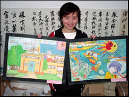 9th grade Chinese student with her artwork