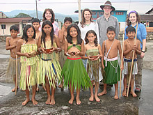 OneWorld Classrooms volunteers with students in the Amazon Rain Forest.